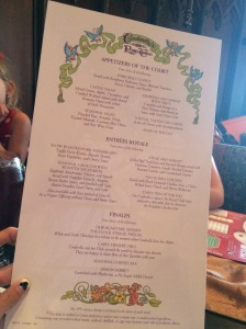 Cinderellas Royal Table Menu - October 2014