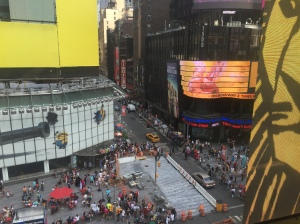 Looking out of the Minskoff Theater after the show onto Times Square below.